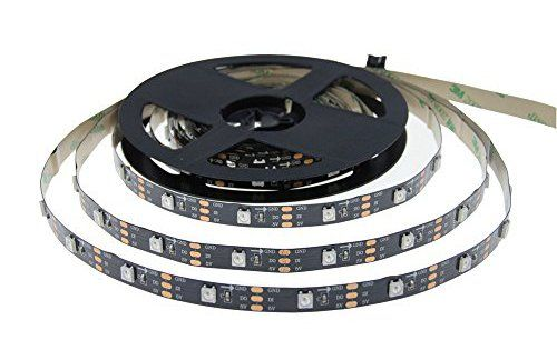 ALITOVE 16.4ft WS2812B Individually Addressable LED Pixel Strip 5m 150 LEDs 5050 SMD Black PCB Not Waterproof DC 5V for Christmas Home…