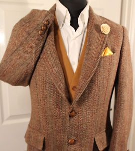 HARRIS-TWEED-VTG-MENS-40-034-SHORT-BROWN-HERRINGBONE-COUNTRY-JACKET-RARE-WEAVE