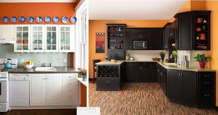 Оранжевые стены на кухне