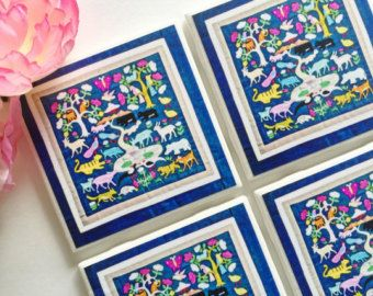 1 Hmong coaster 4 25x4 25 inch tile coasters by SweetCoastersGifts
