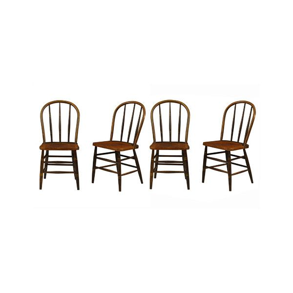 Pre-owned Set of 4 Early American Windsor Chairs w/ Original Paint (8.289.395 COP) ❤ liked on Polyvore featuring home, furniture, chairs, second hand chairs, second hand furniture, early american chairs, early american furniture and gilding furniture