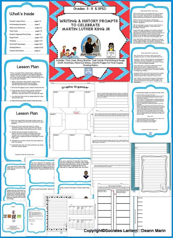 This is a no-prep Martin Luther King Jr. history and  writing activity for grades 5-8 and Special Education classes. This can be used in your Literacy Center or as a class activity. Make copies of items that you wish to use with your students.