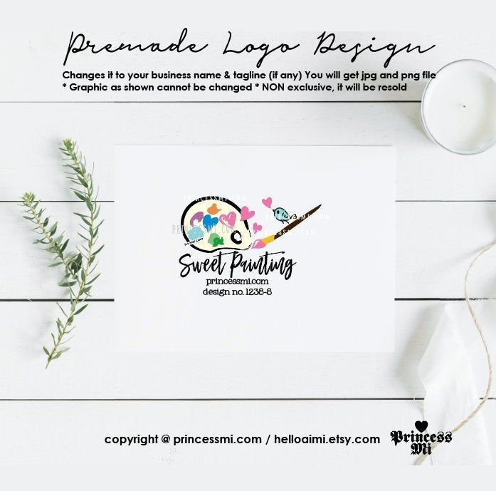 Artist Paint Palette Brushes Logo Design Paint Pallet 1238 8 Etsy Logo Design Create Logo Design Blog Banner