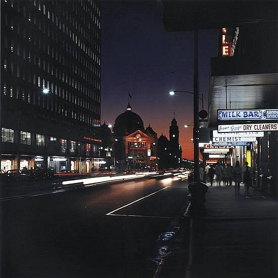 Gas and Fuel Buildings, Evening Archival photographic print on rag paper  Melbourne Victoria Australia Angus O'Callaghan (1922-.) Australia.  Angus dedicated three years in the late 60s and early 70s to documenting a Melbourne that no longer exists.