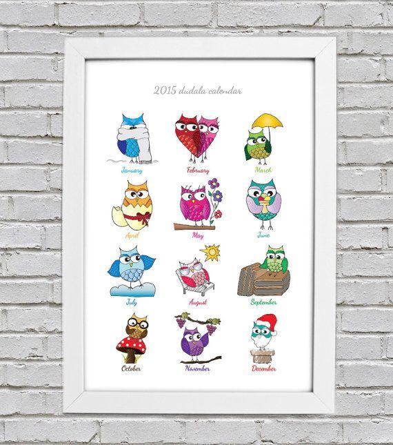 "2015 dudala calendar ""Funny Owls"" Check out this item in my Etsy shop https://www.etsy.com/it/listing/211600530/calendario-2015-gufi-divertenti"