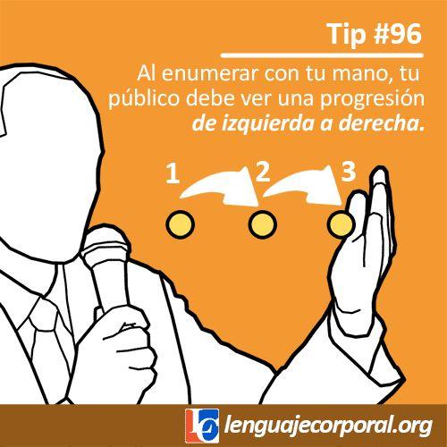Tip 96: Cuando enumeres con tu mano…