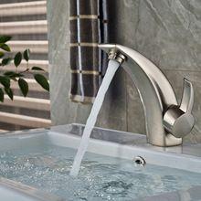 Níquel cepillado latón macizo cuarto de baño grifo de la cuenca vanidad del fregadero grifo de una sola palanca(China (Mainland))