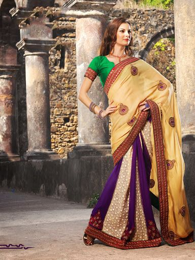 Marvelous Bige Brown & Deep Purple Embroidered Saree | StylishKart.com