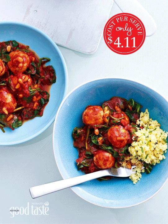 SPICED CHICKEN MEATBALLS WITH ORANGE & CHIVE COUSCOUS ~ recipe Sonja Bernyk ~ pic Brett Stevens/NewLifeMedia