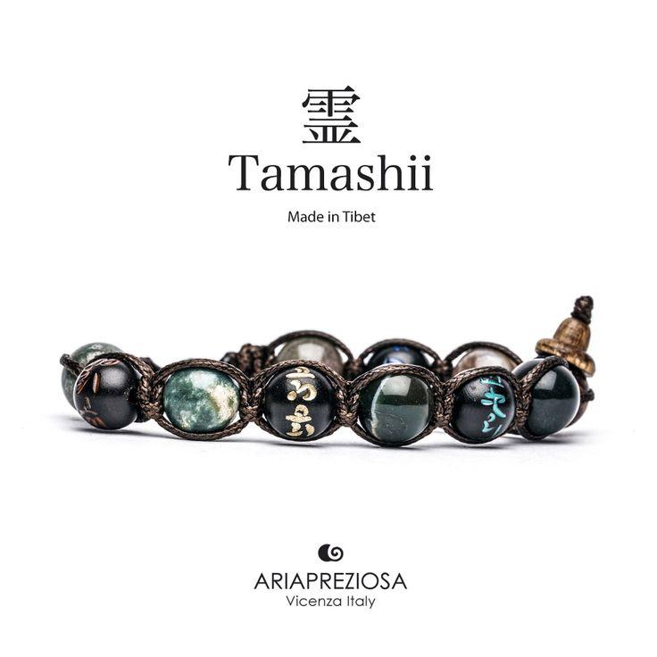 Tamashii - Bracciale originale tibetano (tg. L) realizzato con pietre naturali Agata Muschiata e legno orientale autentico con SIMBOLI MANTRA incisi a mano