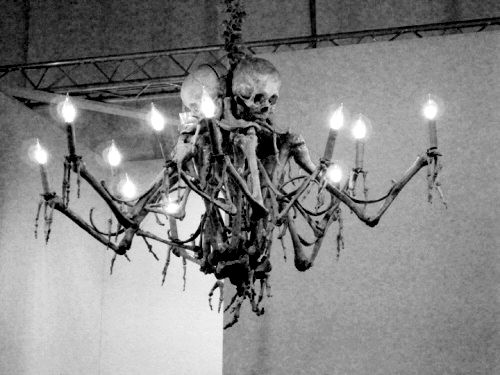 Skeleton chandelier! Eek.