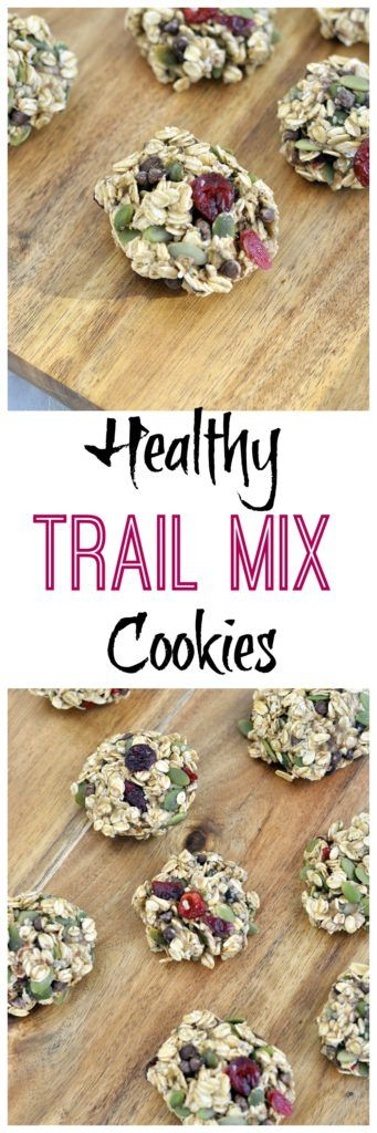 These Healthy Trail Mix Cookies make a great snack for on the go. They are also safe for lunchboxes because they are nut free IF YOU USE ANOTHER MILK. Vegan and gluten free also!