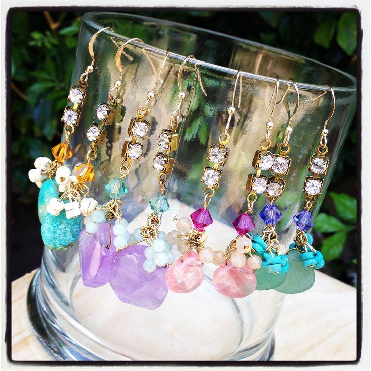 SoniaM Designs, Crystal Diamonte Drop Earrings, Semi-precious stone earrings, statement earrings, statement jewelry