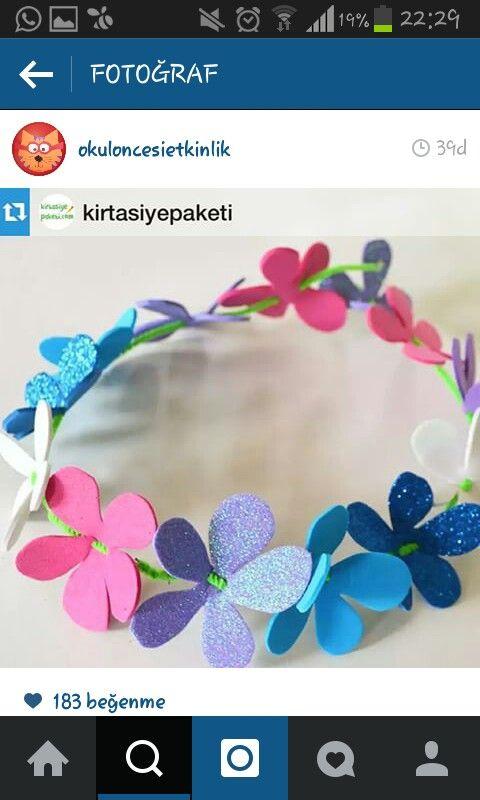 Spring flower crown craft