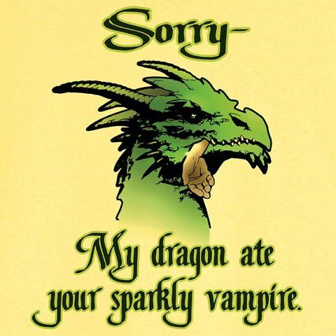 My Dragon Ate Your Sparkly Vampire Funny Novelty T Shirt, humorous pop culture…