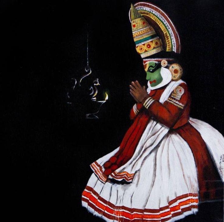 "Saatchi Art Artist Nithyanand Shankar; Painting, ""Kathakali Dancer"" #art"
