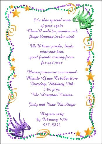 34 best Mardi Gras Party Invitations images on Pinterest Mardi - best of invitation wording for year end party