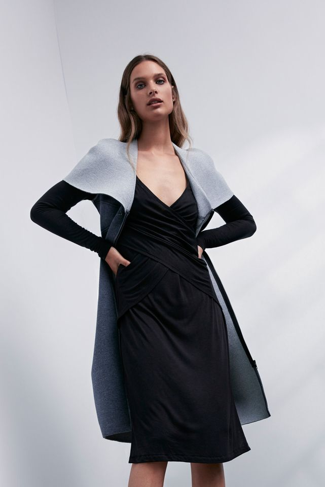 OnceWas: Kikko bonded ponte leather zip front cape dress and Interlace reversible jersey dress.