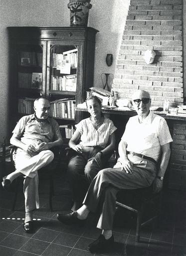 Publisher Elvira Sellerio with writers Leonardo Sciascia and Gesualdo Bufalino, Racalmuto, 1982.