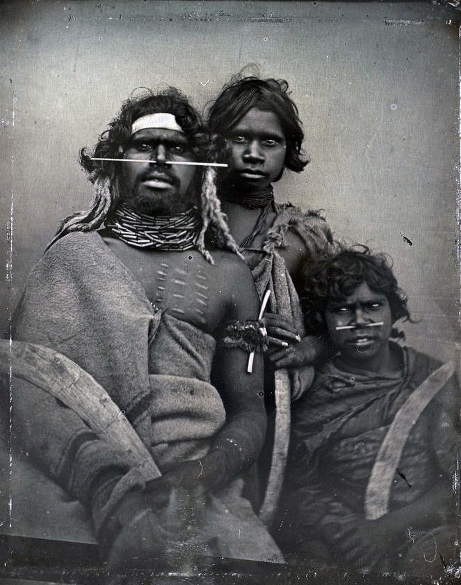 South-east Australian Aboriginal man and two younger companions.  ca. 1847 | ©Douglas Kilburn/National Gallery of Australia