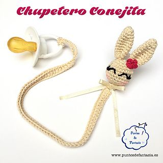 """Crochet Bunny Pacifier Amigurumi -Free English and Spanish Pattern - PDF Format click """"download"""""""