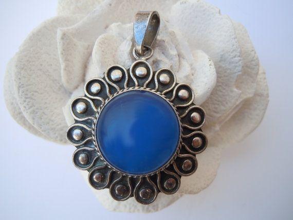 Ciondolo vintage fiore argento con agata blu, vintage gioielli, vintage argento, vintage donna