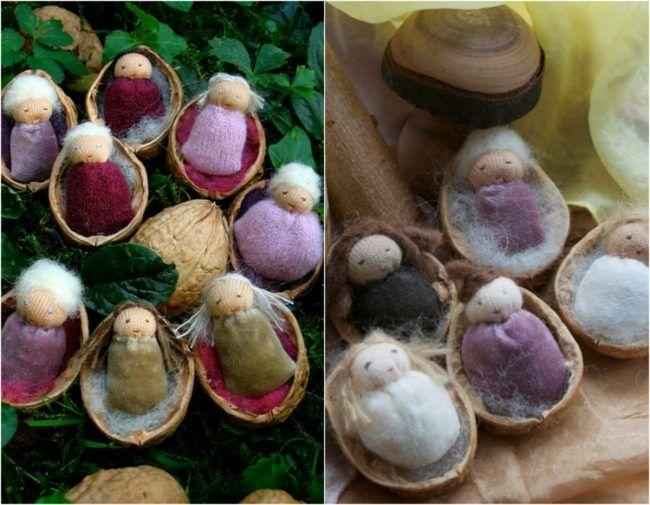 basteln-naturmaterial-puppenwiege-watte-puppen-walnusshälften-stoff-filz