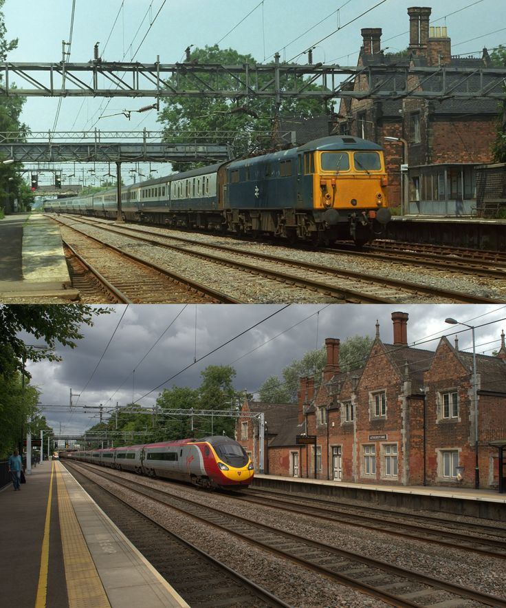 https://flic.kr/p/JVZx6J   Atherstone then and now   The first picture was taken on August 4th 1976 and features 87029 heading for Euston.  The pendo was 390136, one of the eleven car formations which was also Euston bound with 1A36 from Manchester Piccadilly on August 4th 2016.  It took me 40 years almost to the day to go back to find a station in much better condition with a more frequent service too. The footbridge has gone, as has the rather naff bus shelter.  The passenger experience…