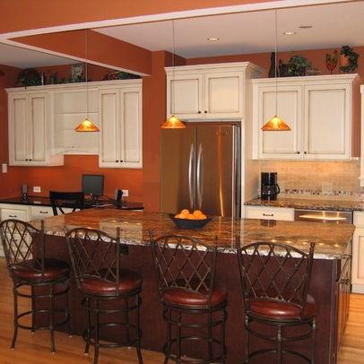 Burnt Orange Paint w/ white cabinets   Kitchen   Pinterest