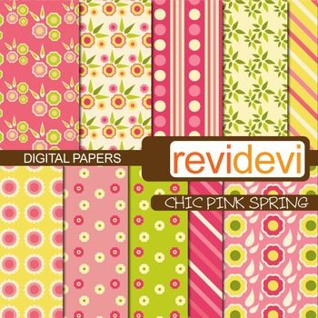 Flowery patterned papers. Great for background.  These digital papers are great for teachers and educators for creating their school and classroom projects such as for background for bulletin, announcement, learning worksheet, craft materials, cards, paper goods, and for more fun projects.