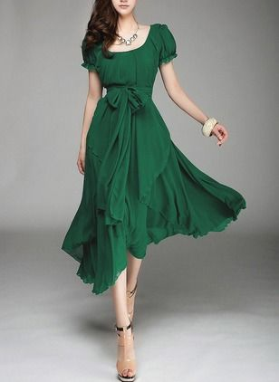 Polyester Solid Short Sleeve Mid-Calf Casual Dresses (1012408) @ floryday.com