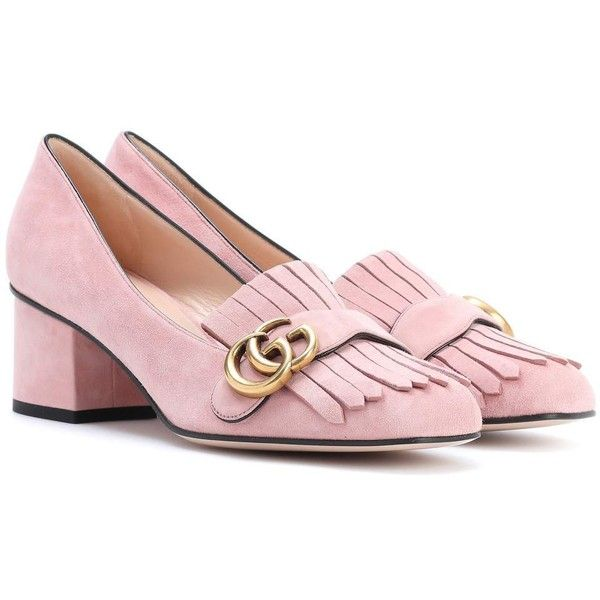 Gucci Suede Loafer Pumps ($605) ❤ liked on Polyvore featuring shoes, pink, gucci loafers, pink loafers, suede loafers, gucci shoes and gucci footwear