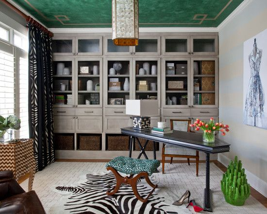 , Remarkable Transitional Home Office Design Ideas With Gray Wooden Storage For Ornament And Office Equipment Also Black Elegant Desk With Wooden Chair Also Beautiful Glass Flower Vase On Desk Also Zebra Skin Mat: IKEA Office storage for Room