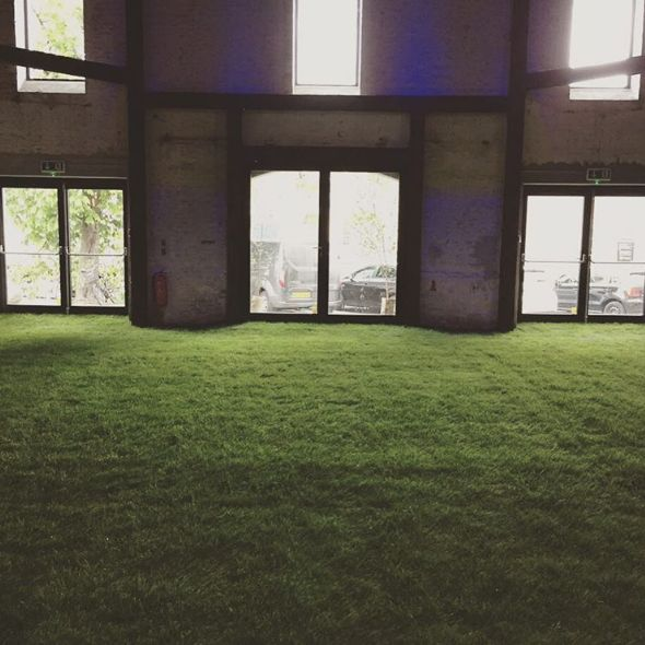 Invite the lane inside and cover the floor with grass