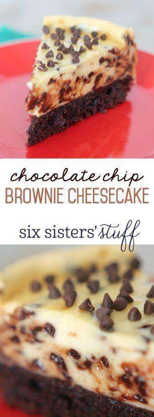 Chocolate Chip Brownie Cheesecake Chocolate Chip Brownie Cheesecake SixSistersStuff This Chocolate Chip Brownie Cheesecake is so easy to make and tastes AMAZING!