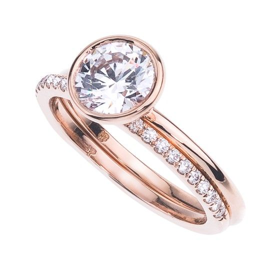 Mark Patterson Rose Gold & Diamond Engagement ring and band.