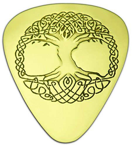 """Unique & Custom [0.38mm Thin Gauge - Traditional Style Semi Tip] Hard Luxury Guitar Pick Made of Genuine Solid Brass w/ Celtic Round Tribal Circle Tree Design """"Gold Yellow Colored"""" {Single Pick} mySimple Products"""