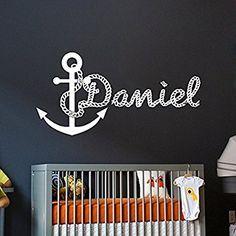 Wandaufkleber für Junge Persönlich Name Anker Meer Wandtattoo Monogramm mit Namen Kinder Geschenk Jungen Kinderzimmer Vinyl Aufkleber Wandsticker Fototapete Dekoration für Zuhause Schlafzimmer