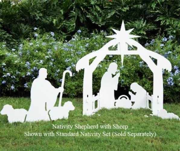 """Nativity Shepherd Set Matches With Standard Nativity Set;. Beautiful silhouette style Shepherd set that complements any yard without looking overly commercial. The Shepherd is constructed of 1/2"""" marine grade plastic sheet that cannot rot or delaminate and never requires painting. 