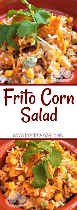 Frito Corn Salad...where Corn dip meets Chip in one glorious mouth-watering salad!!! A must make for your summer time meals.