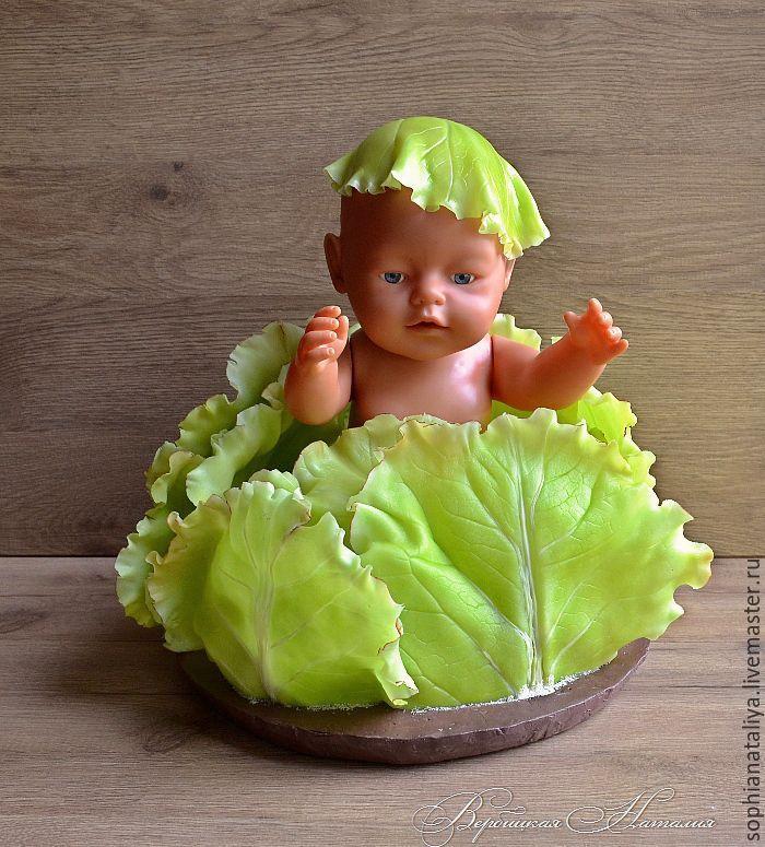 Купить Листья капусты из полимерной глины Сочный Зеленый - вербицкая наталия, интерьерные штучки