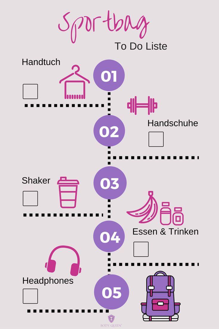 Was darf in der Sporttasche nicht fehlen? #infografik #sport #fitness #checkliste #sportbag #sporttasche #trainingsprogramm #bodyqueen #bodyqueenelite