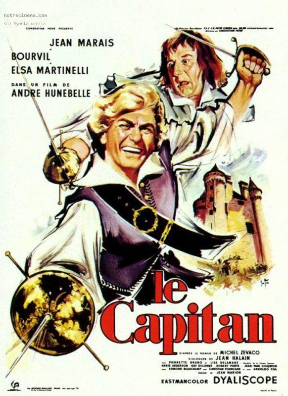 """""""Le capitan"""" ~ Captain Blood (1960) Stars: Jean Marais, Bourvil, Elsa Martinelli, Pierrette Bruno, ~  Director: André Hunebelle"""