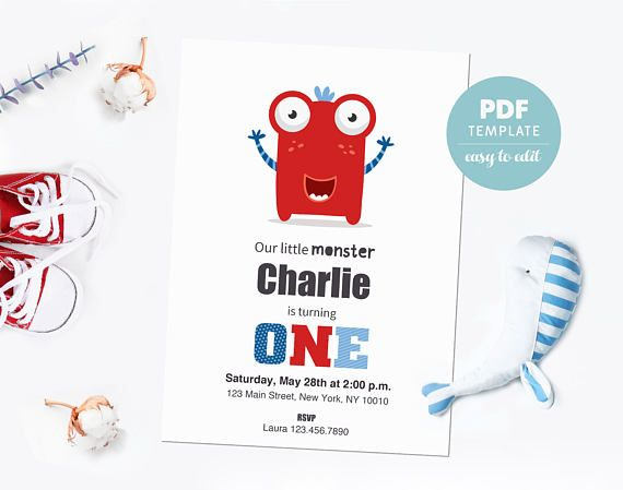 Birthday invitation card. First birthday PDF template card. Birthday party invitation for boys & girls. Editable PDF for instant download.