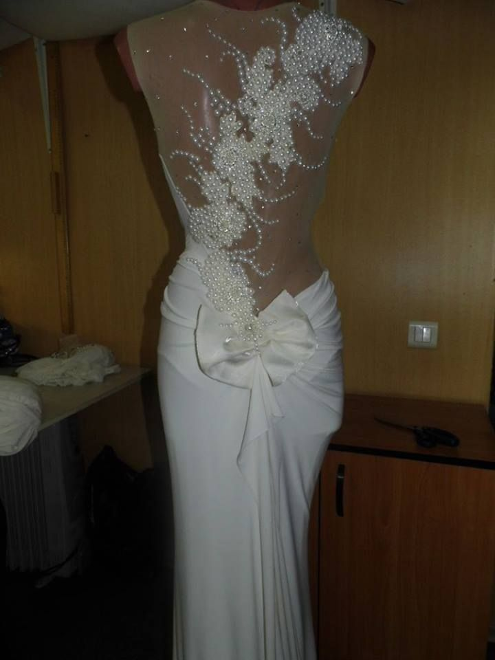 2014 Sexy Illusion Bridal Gowns Pearl Embellished Bow Back