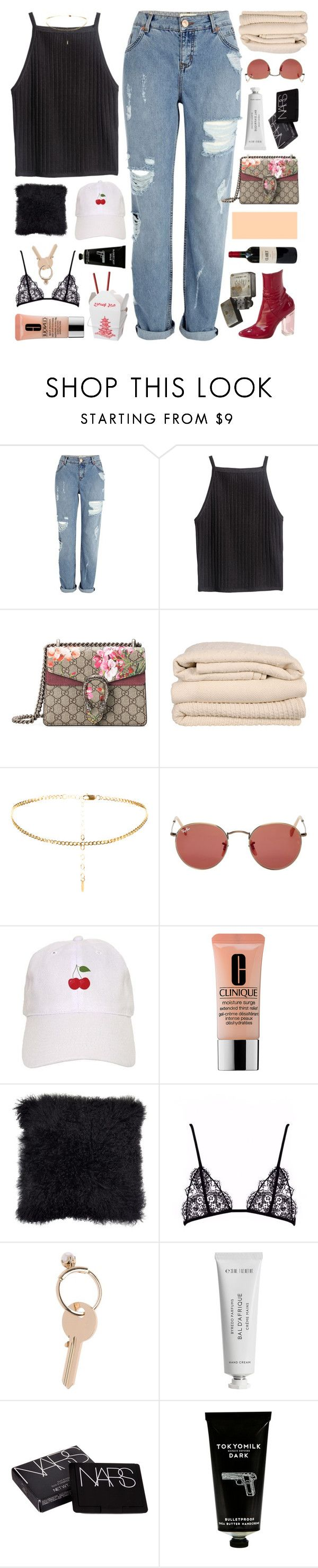 """nouveau"" by cheruhb ❤ liked on Polyvore featuring River Island, Gucci, Brahms Mount, Ray-Ban, Clinique, Maison Margiela, Byredo, NARS Cosmetics and TokyoMilk"