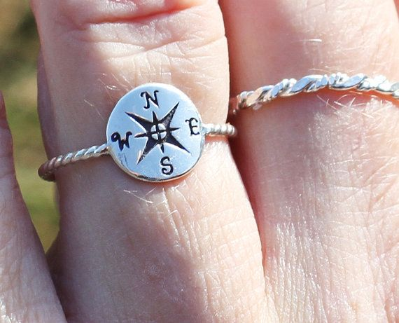 Sterling silver compass ring, compass ring, nautical ring, women, friend, mother, daughter, eco friendly, statement, novelty on Etsy, $33.00