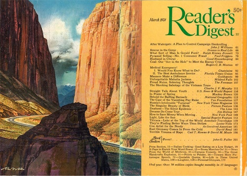 "Reader's Digest front and back cover, May 1974  Illustration: ""Western Pass"" by Ren Wicks  Wicks (1911-1997) did magazine illustrations for Esquire, Redbook, Saturday Evening Post, Coronet, and Reader's Digest. He was also a prolific advertising artist, illustrating campaigns for Kotex, Edwards Coffee, and swimwear companies, as well as several calendars for casinos in the 1960s."