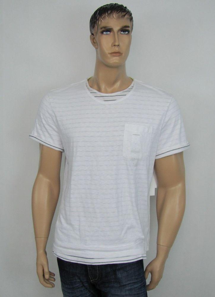 Calvin Klein Jeans shirt men's double layer stripe knit t-shirt size XXL NEW #CalvinKleinJeans #TShirt 19.99