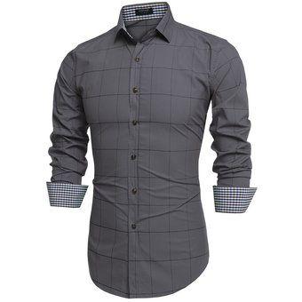 Compra Camisa Cuadros Con Manga Larga  Para Hombre-Gris online ✓ Encuentra los mejores productos Camisas casuales manga larga Yucheer en Linio Perú ✓
